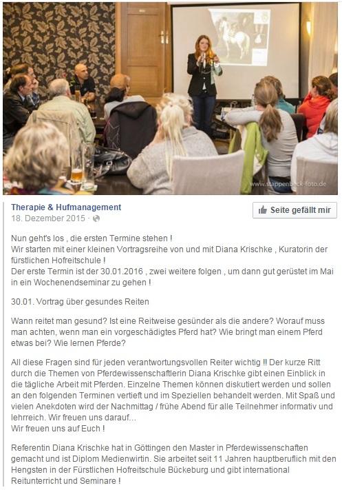 Seminar Gesundes Reiten 30.1.2016 bei Diana Krischke