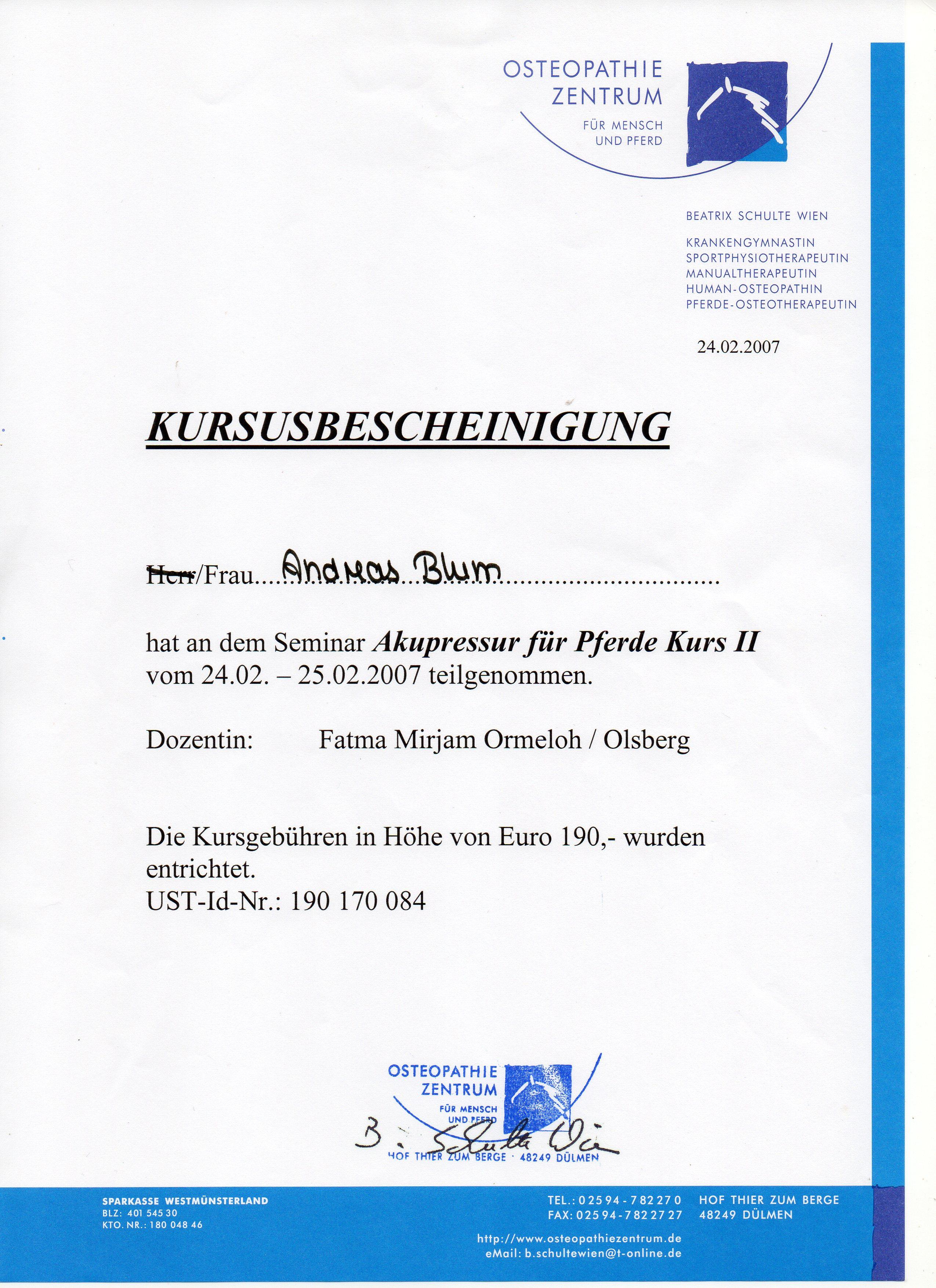 Akupressur II 24.-25.2.2007 bei Fatma Mirjam Ormeloh